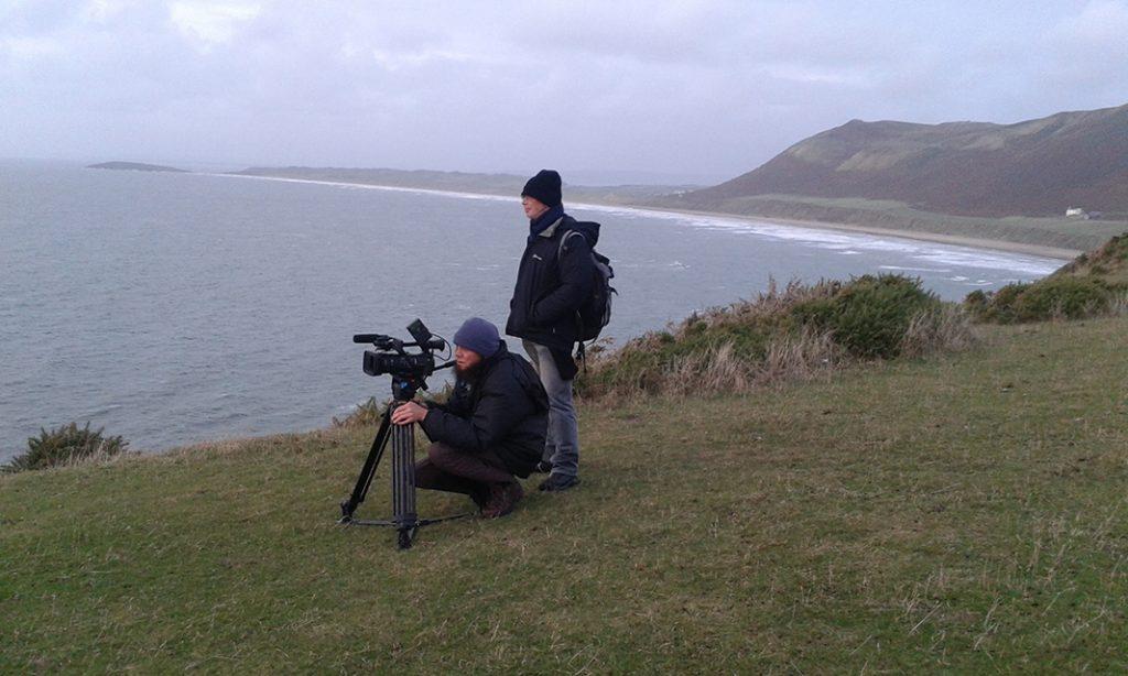 Peter Stevenson & Jacob Whittaker filming on the clifftops